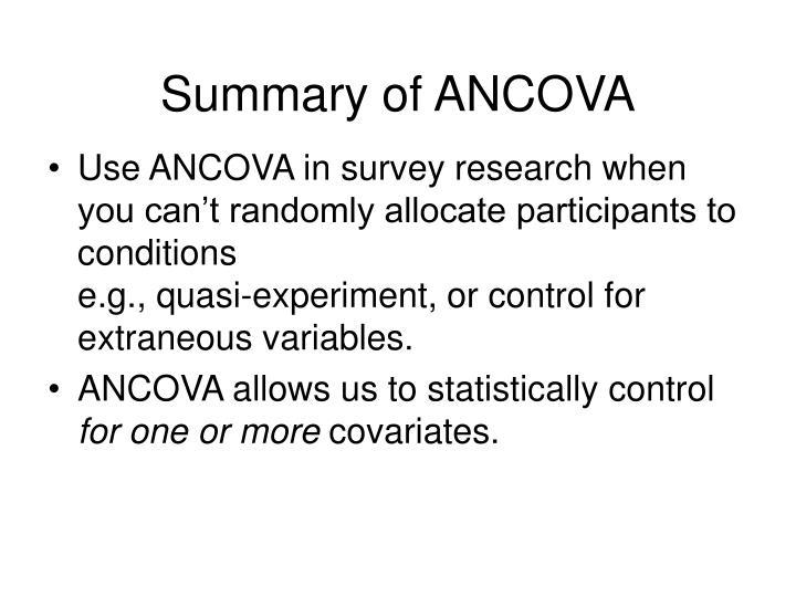 Summary of ANCOVA