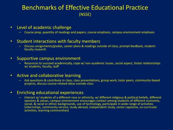 Benchmarks of Effective Educational Practice