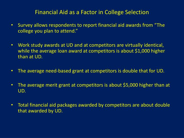 Financial Aid as a Factor in College Selection
