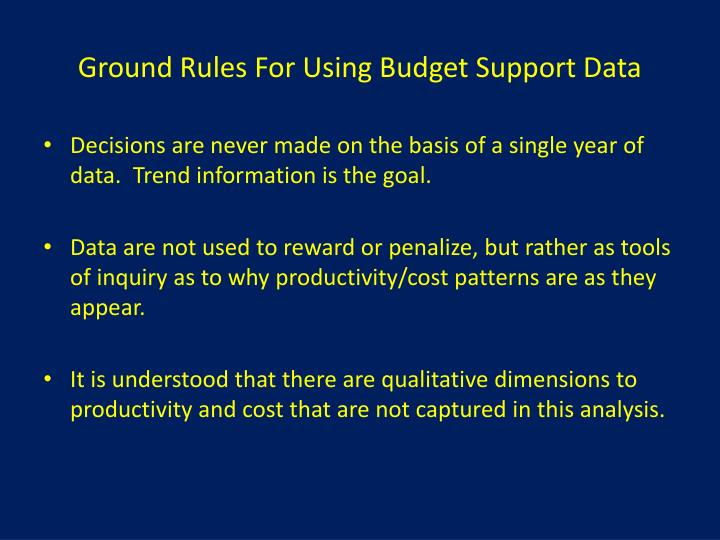 Ground Rules For Using Budget Support Data