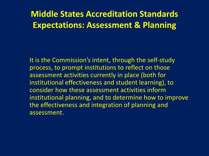 Middle States Accreditation Standards