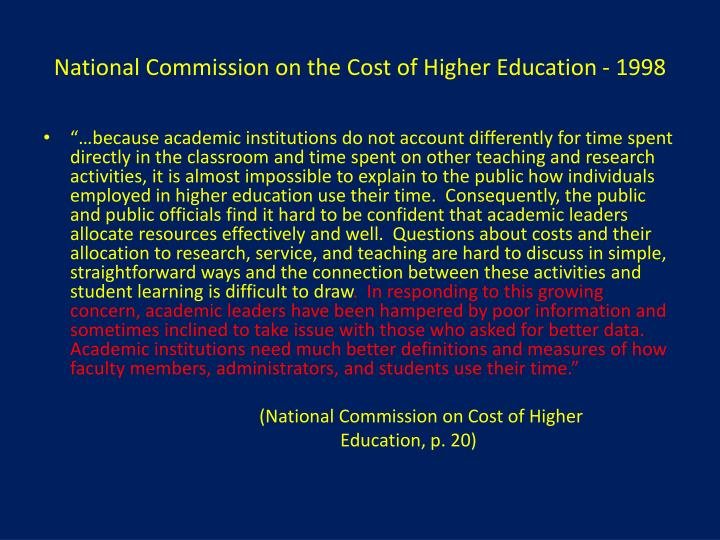 National Commission on the Cost of Higher Education - 1998