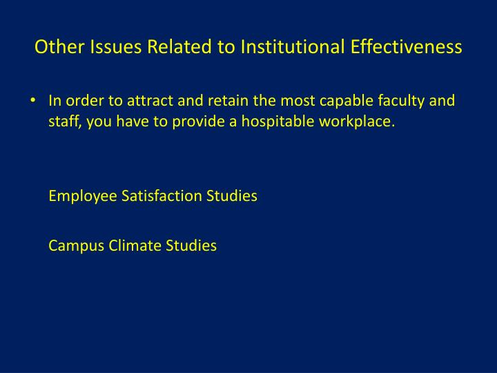 Other Issues Related to Institutional Effectiveness