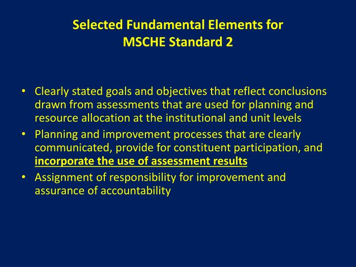 Selected Fundamental Elements for