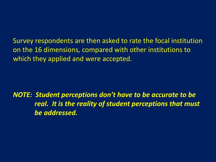 Survey respondents are then asked to rate the focal institution on the 16 dimensions, compared with other institutions to which they applied and were accepted.