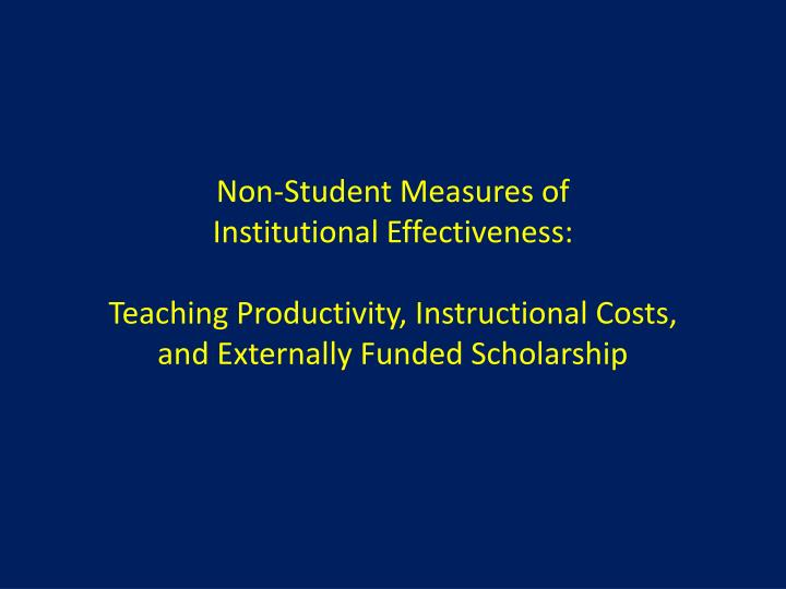 Non-Student Measures of