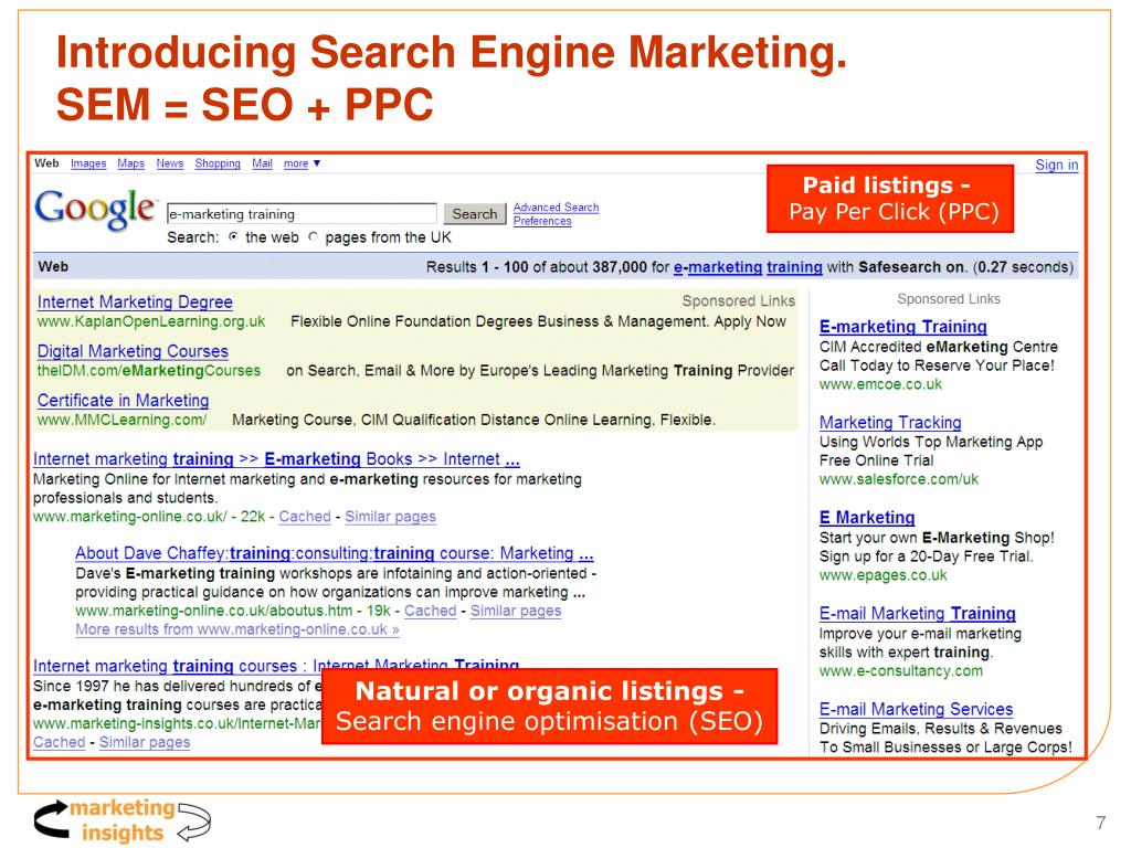 Introducing Search Engine Marketing.