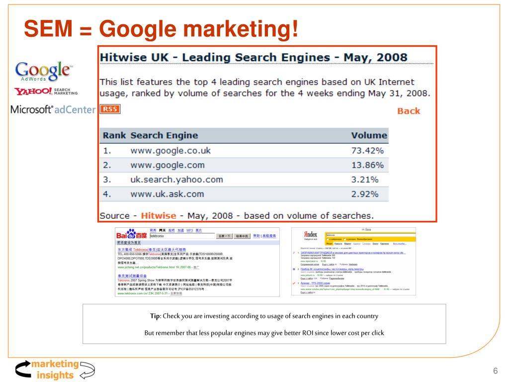 SEM = Google marketing!