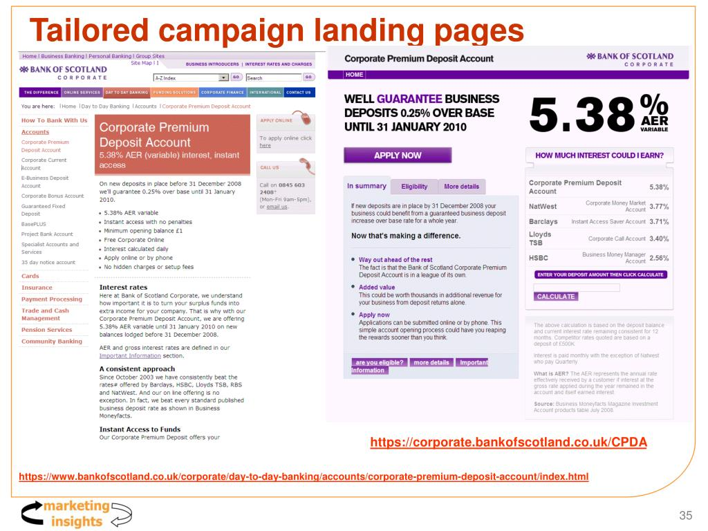 Tailored campaign landing pages