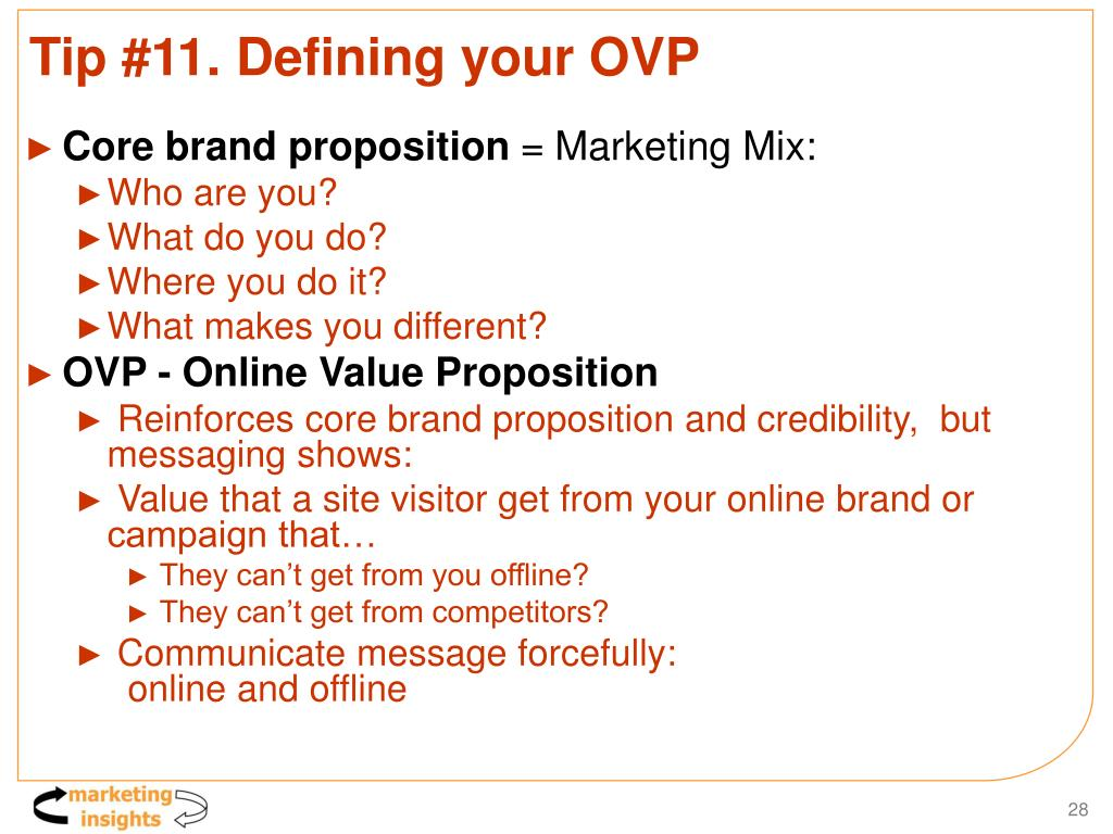 Tip #11. Defining your OVP