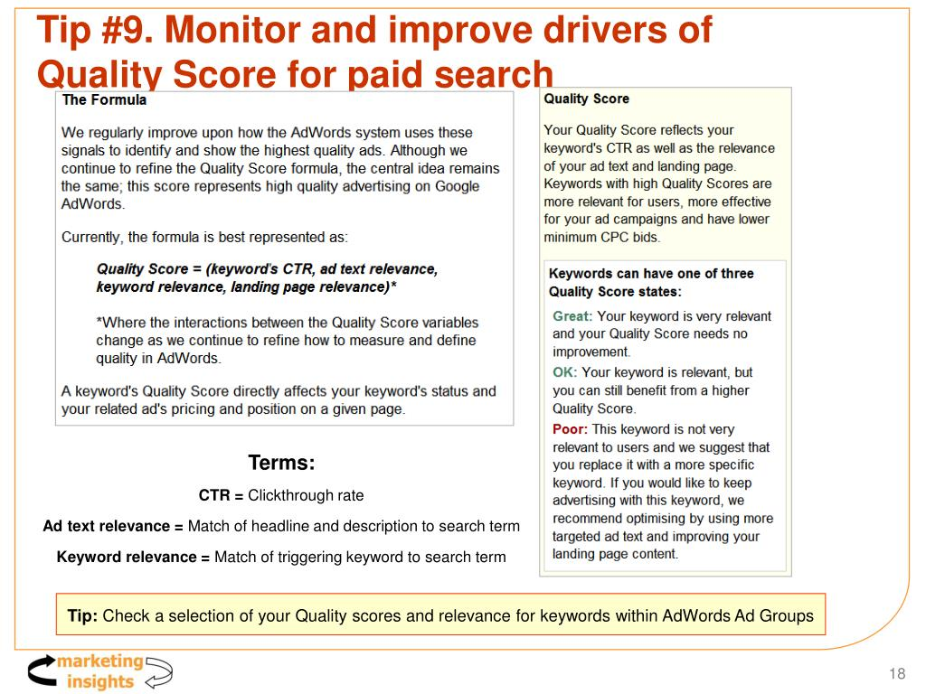 Tip #9. Monitor and improve drivers of