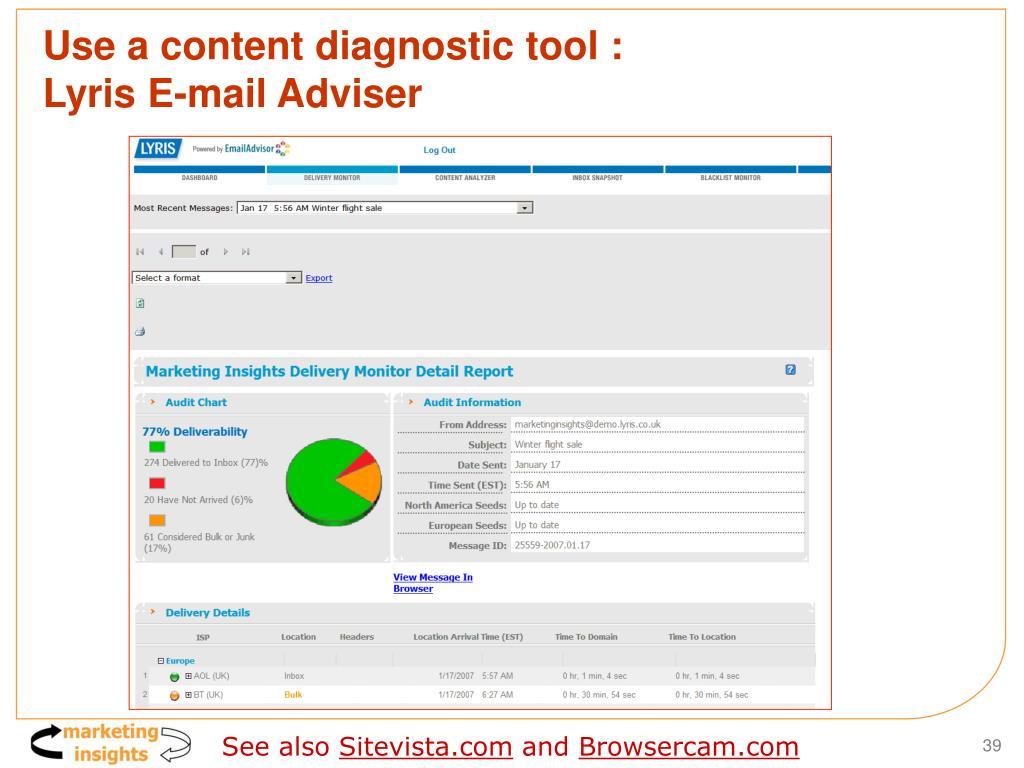 Use a content diagnostic tool :