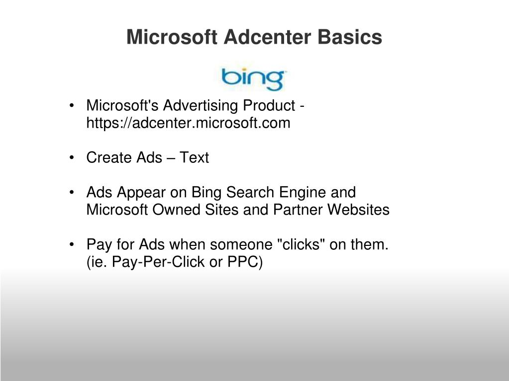 Microsoft Adcenter Basics