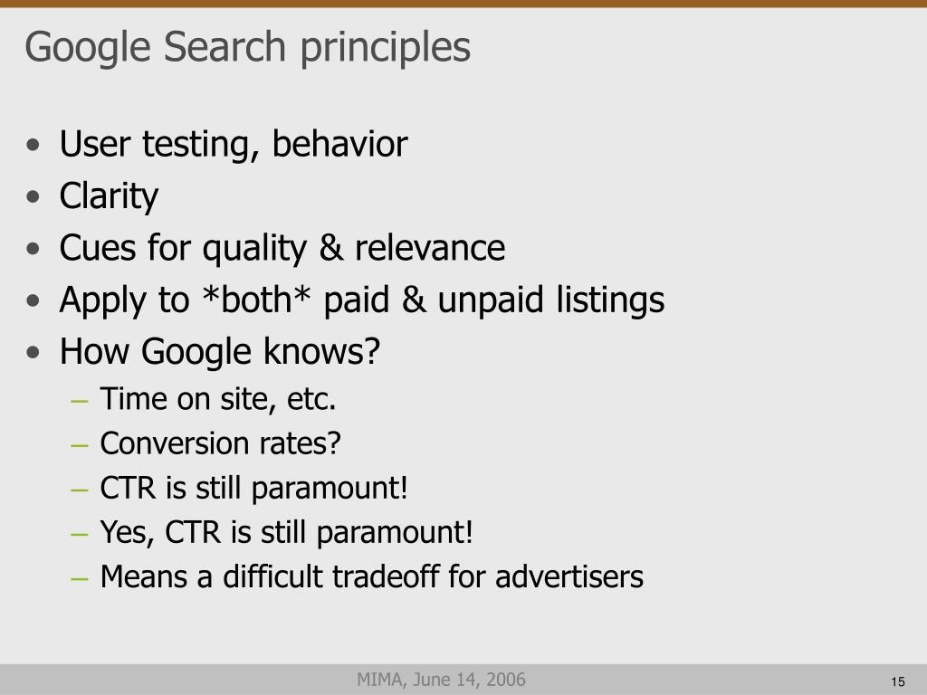 Google Search principles
