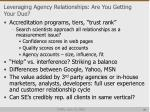 leveraging agency relationships are you getting your due