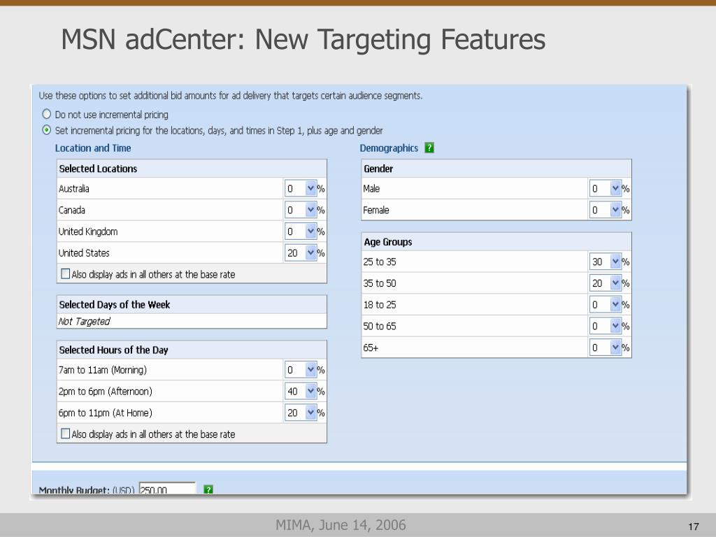 MSN adCenter: New Targeting Features