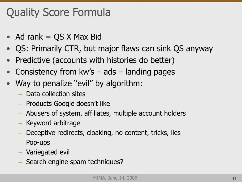 Quality Score Formula