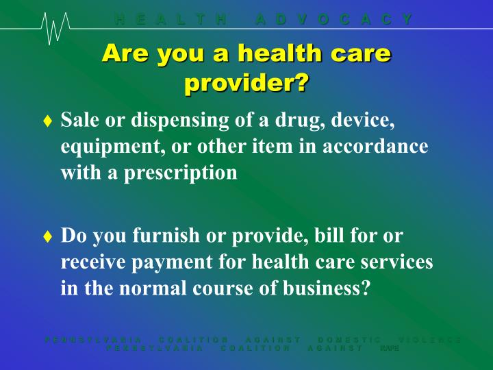 Are you a health care provider?