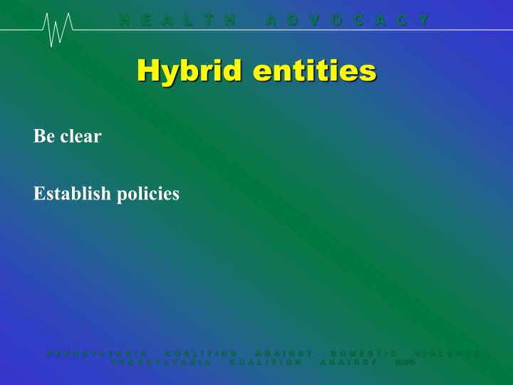 Hybrid entities