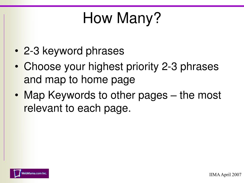 2-3 keyword phrases