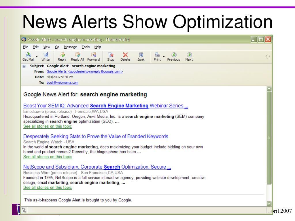 News Alerts Show Optimization