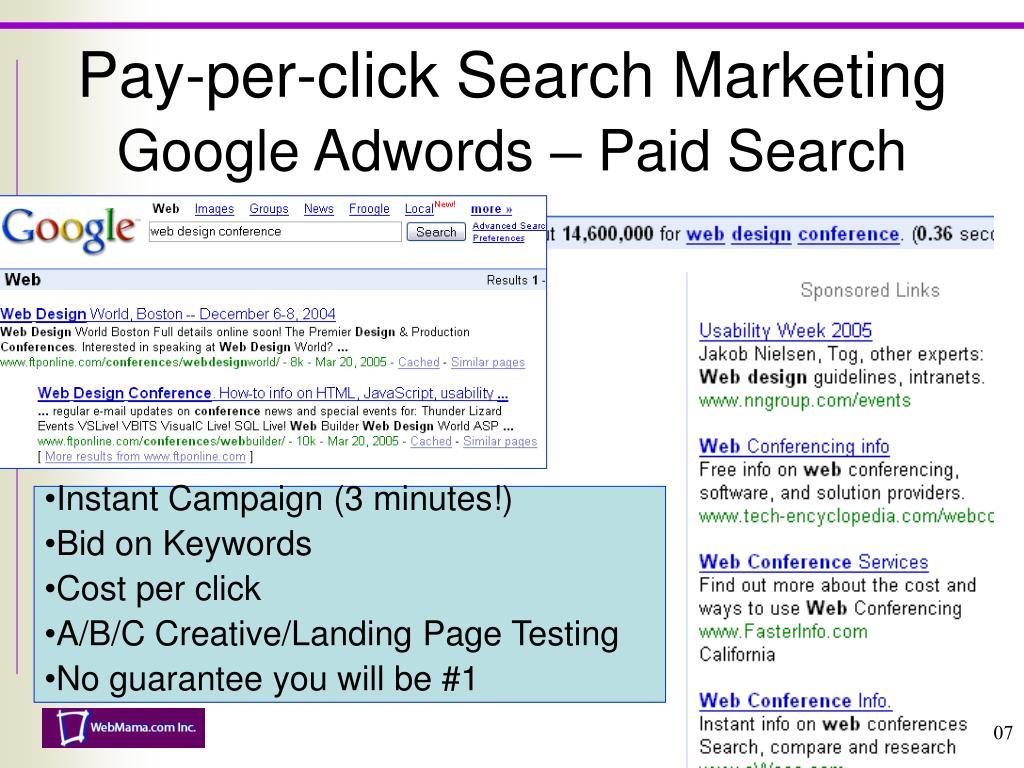 Pay-per-click Search Marketing