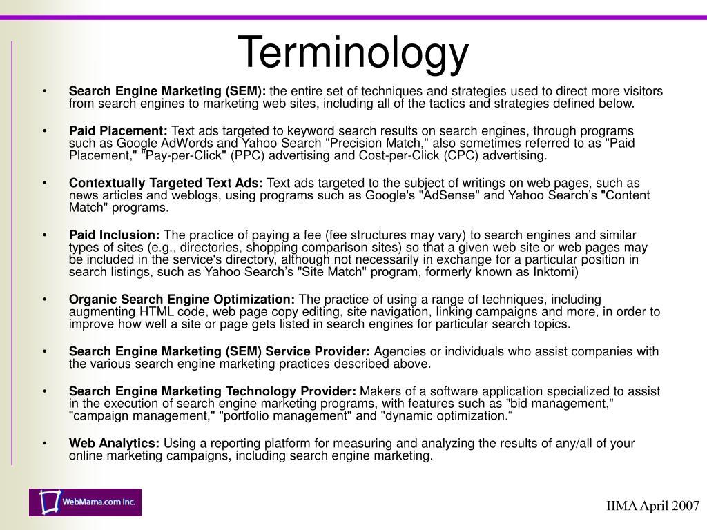 Search Engine Marketing (SEM):
