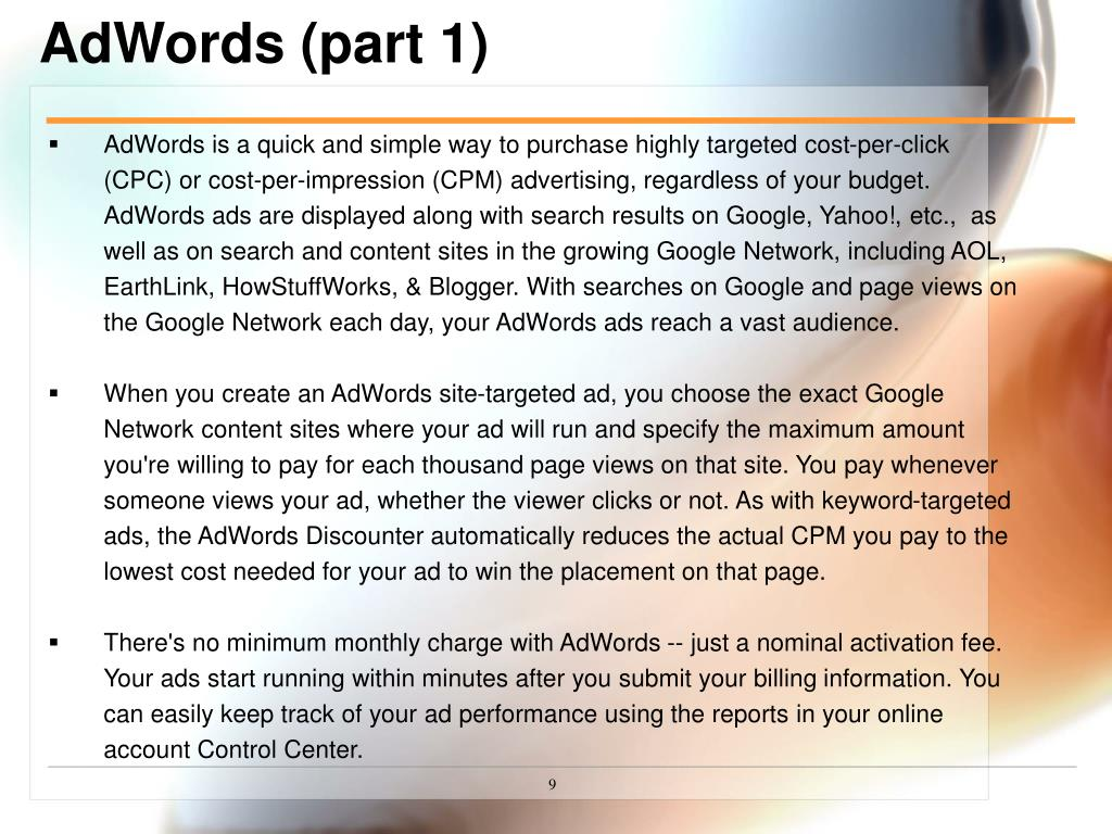 AdWords (part 1)