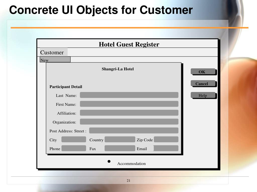 Concrete UI Objects for Customer