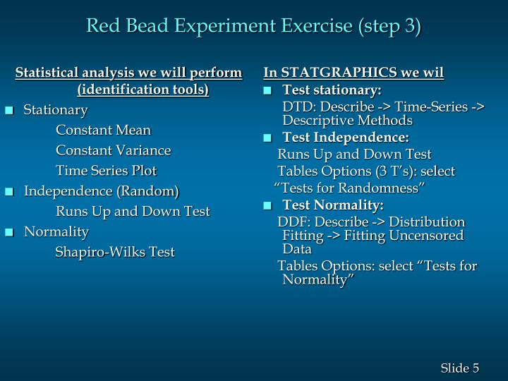 red bead experiment Red bead experiment - learning tool made famous by dr w edwards deming in his 4 day seminars the tool helps illustrate that managers can often tamper rather than.