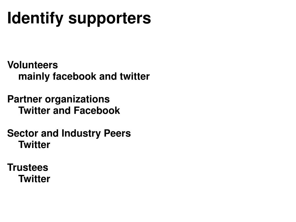 Identify supporters