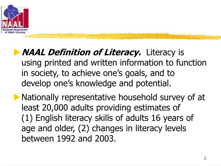 NAAL Definition of Literacy.