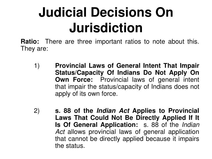 Judicial Decisions On Jurisdiction