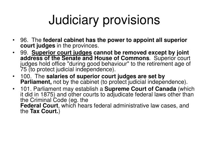 Judiciary provisions