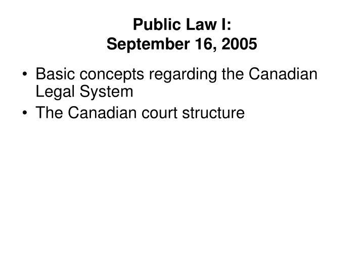Public Law I: