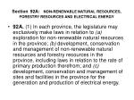 section 92a non renewable natural resources forestry resources and electrical energy
