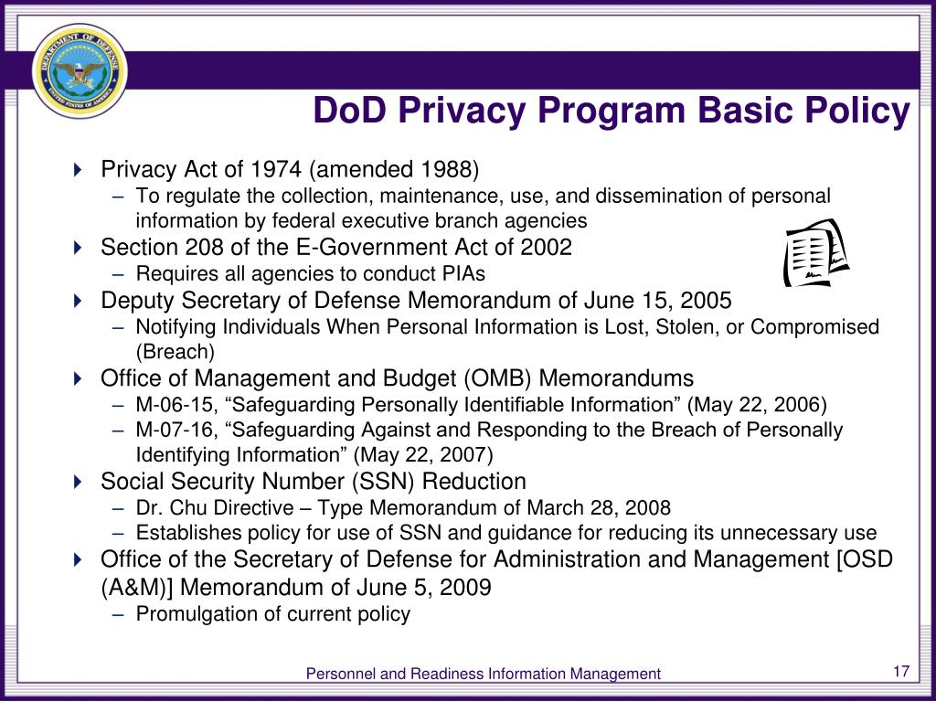 DoD Privacy Program Basic Policy
