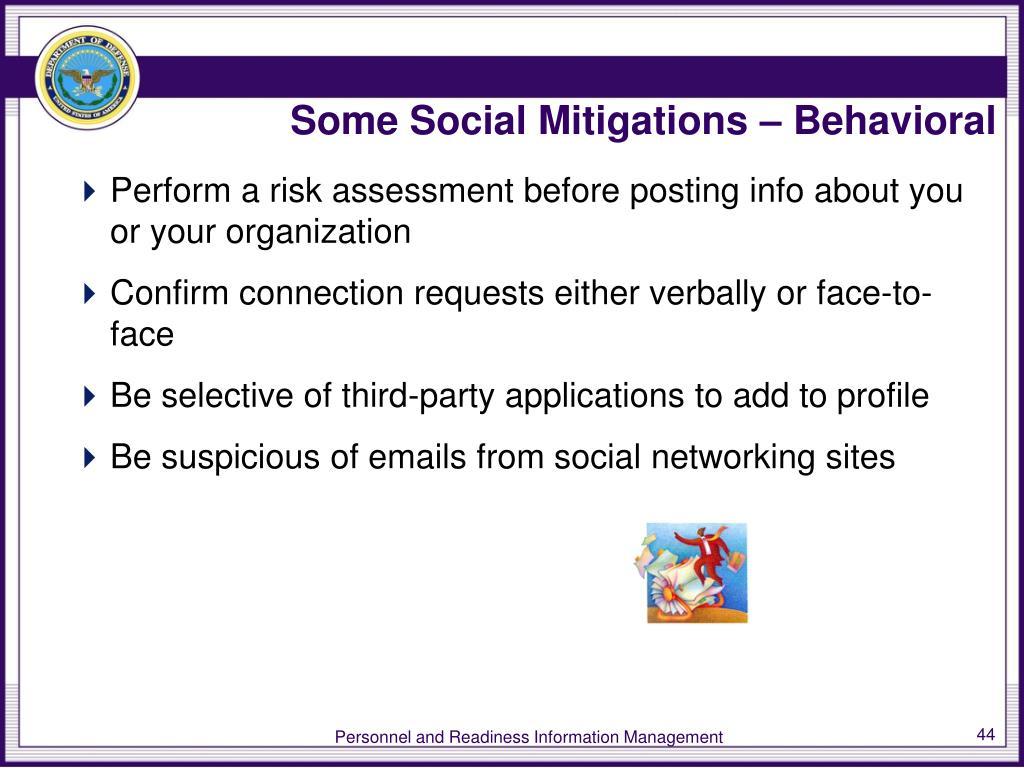Some Social Mitigations – Behavioral
