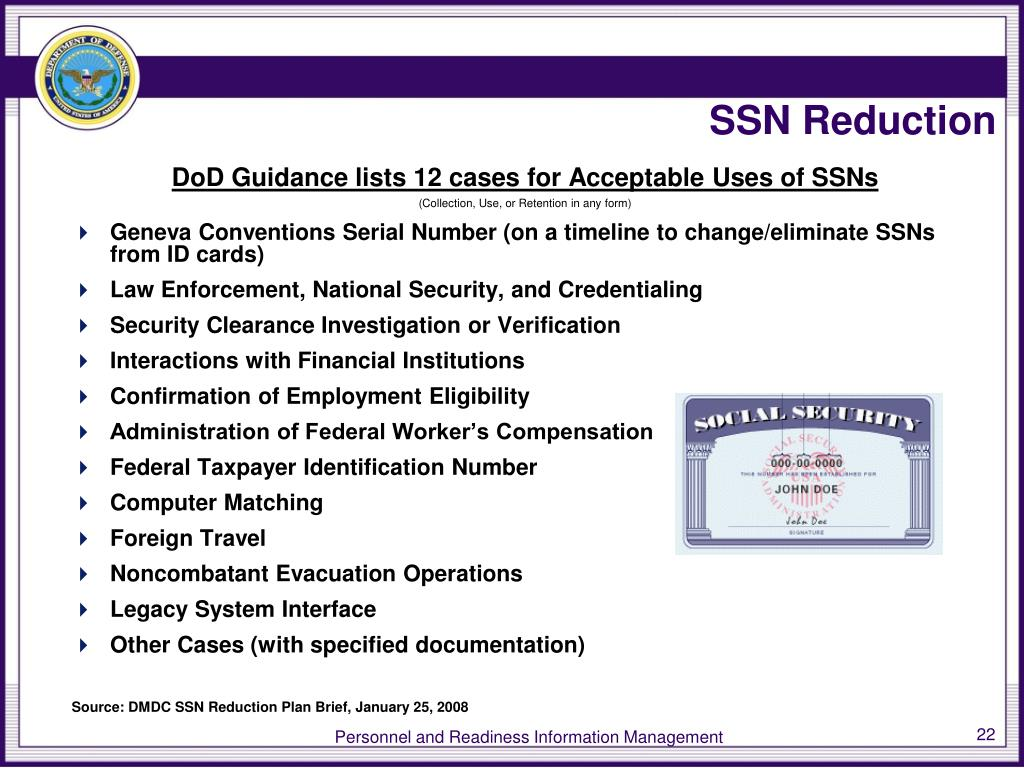 SSN Reduction