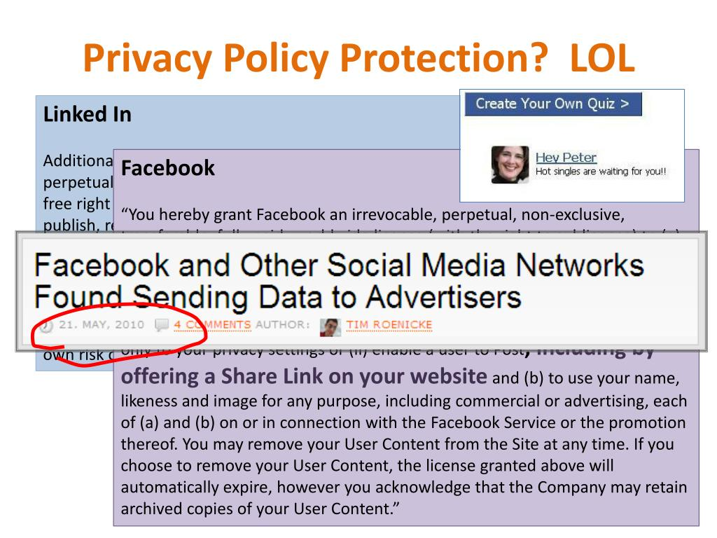 Privacy Policy Protection?  LOL