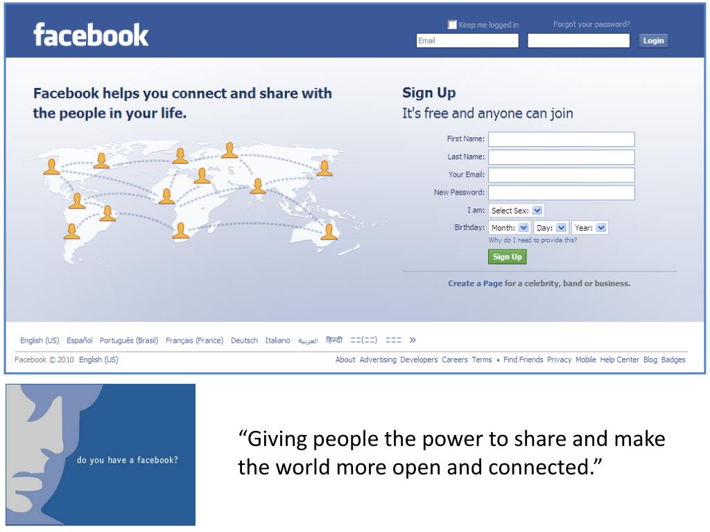 """Giving people the power to share and make the world more open and connected."""