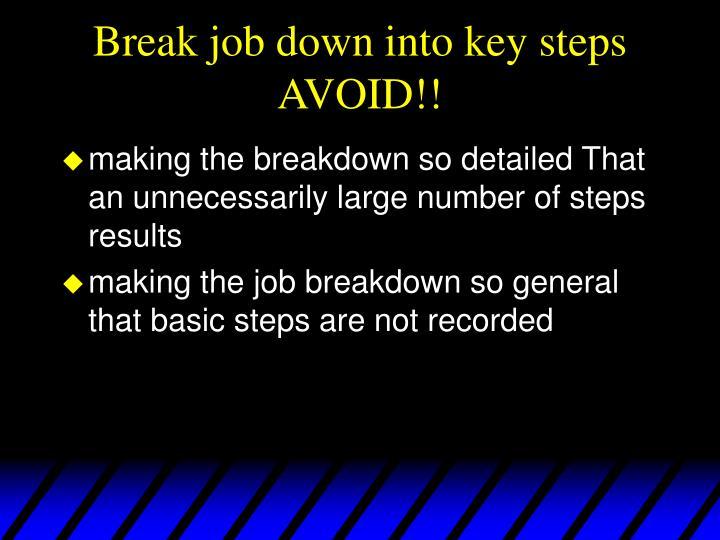 Break job down into key steps