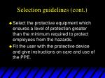 selection guidelines cont