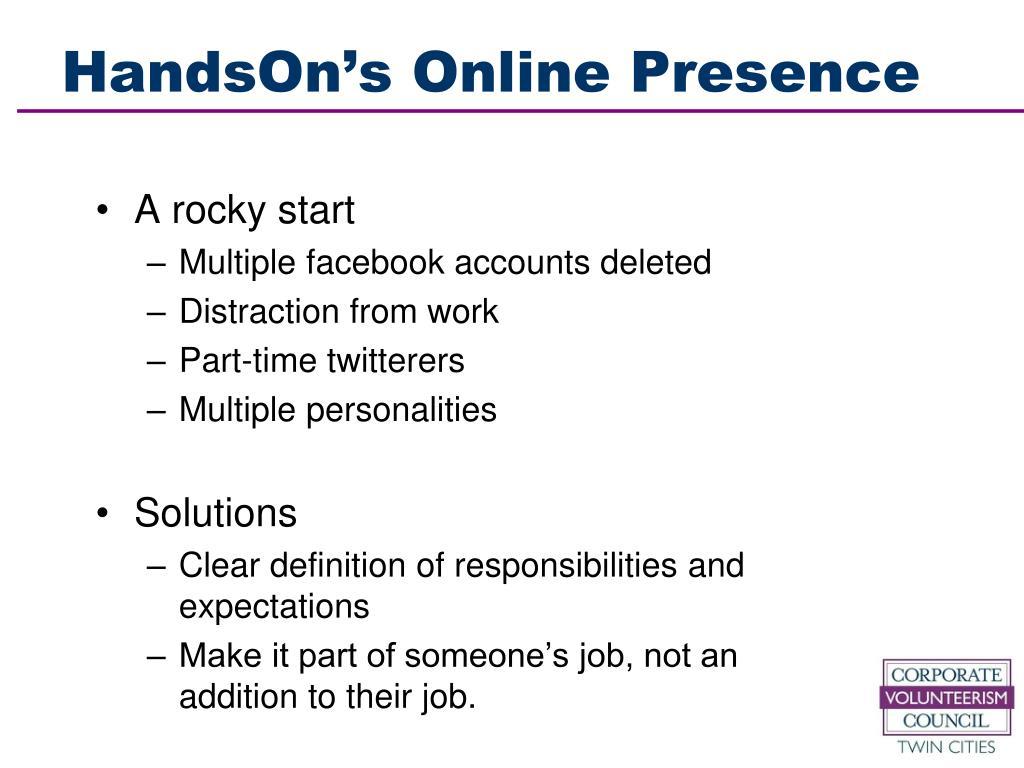 HandsOn's Online Presence