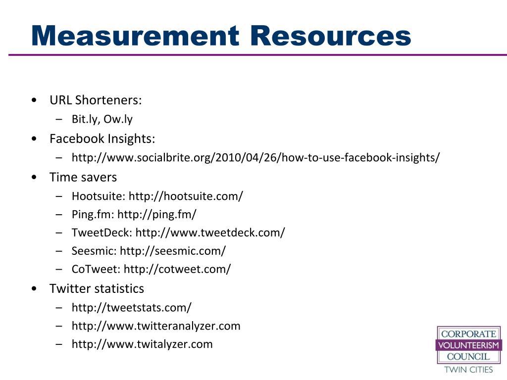 Measurement Resources