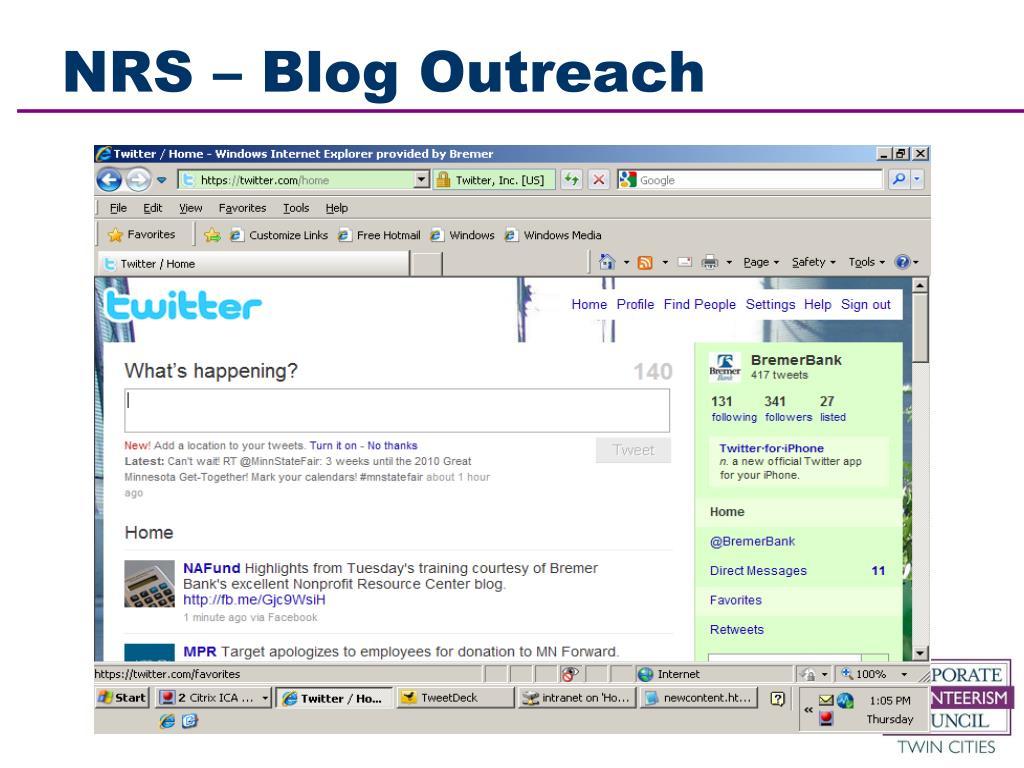 NRS – Blog Outreach