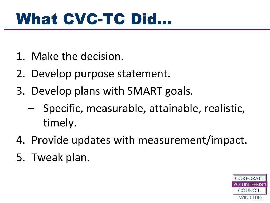 What CVC-TC Did…