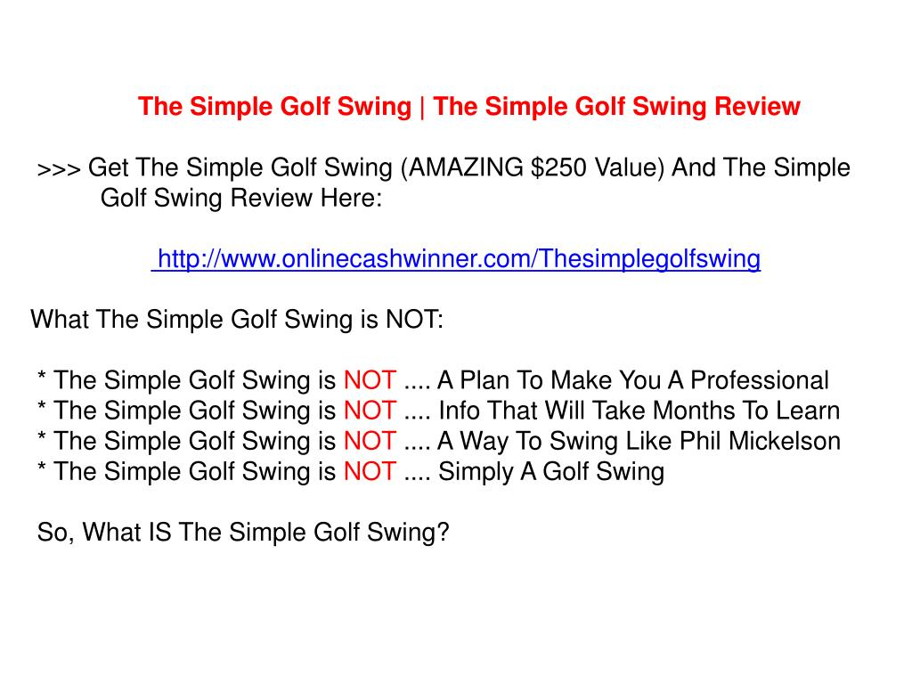 The Simple Golf Swing | The Simple Golf Swing Review