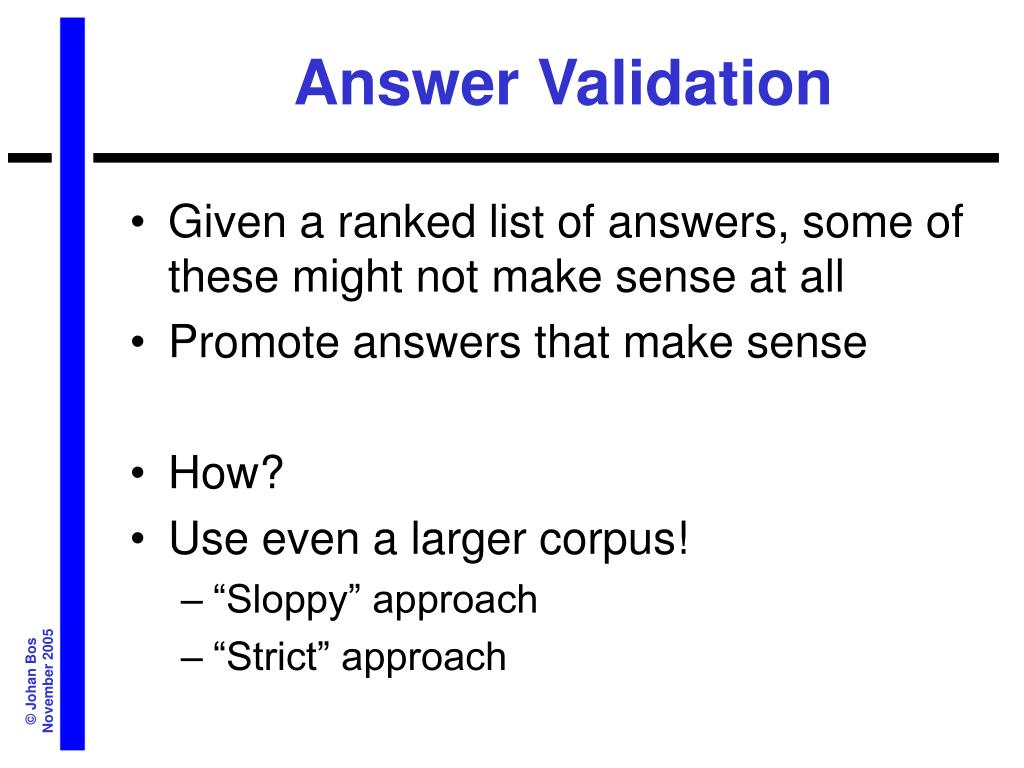 Answer Validation