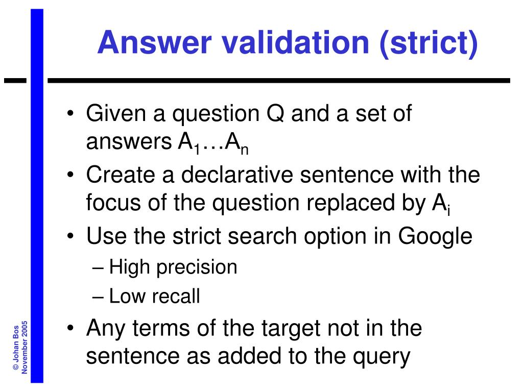 Answer validation (strict)